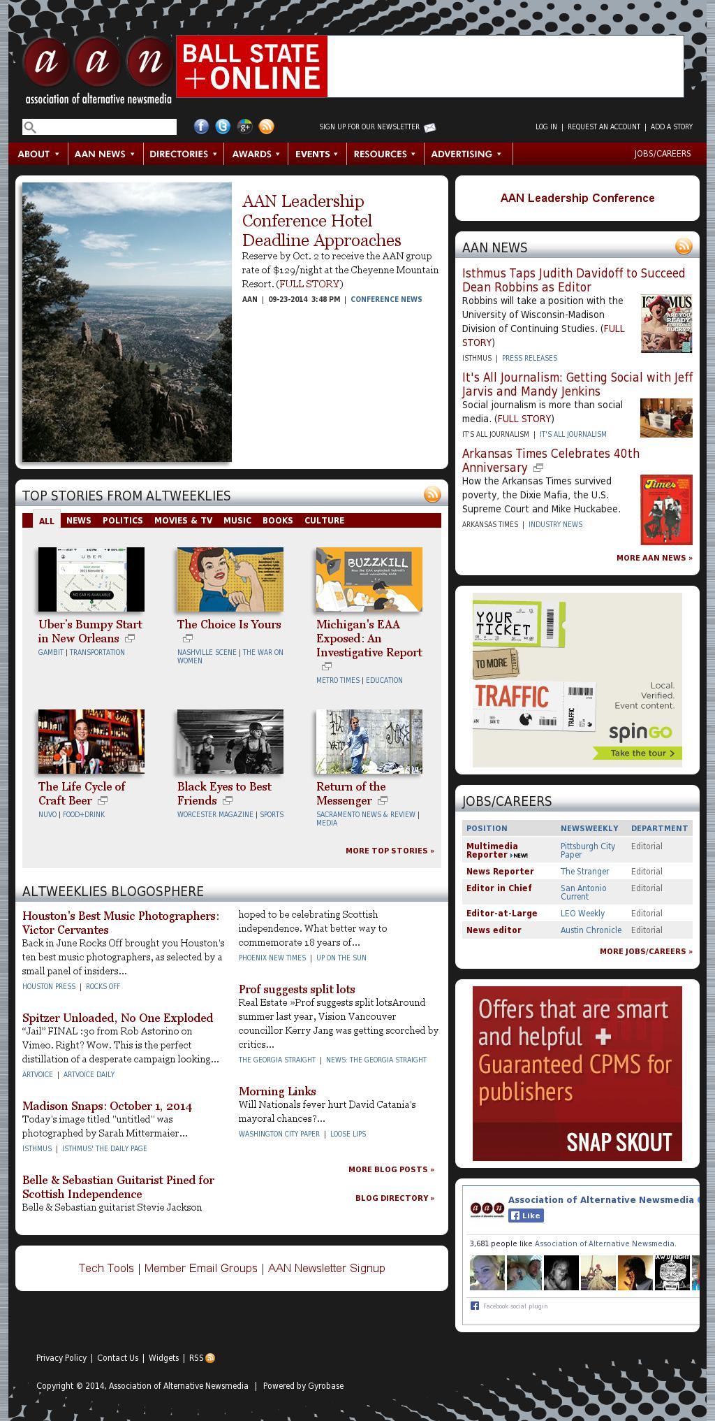Association of Alternative Newsmedia at Wednesday Oct. 1, 2014, 1 p.m. UTC