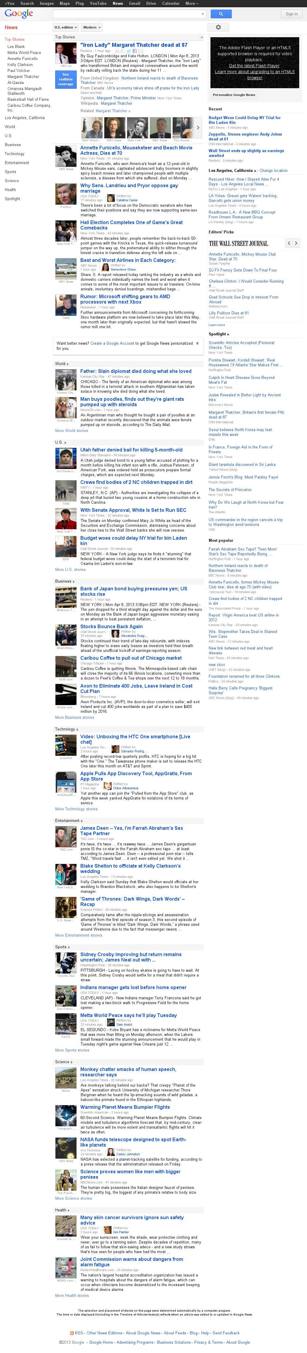 Google News at Monday April 8, 2013, 8:17 p.m. UTC