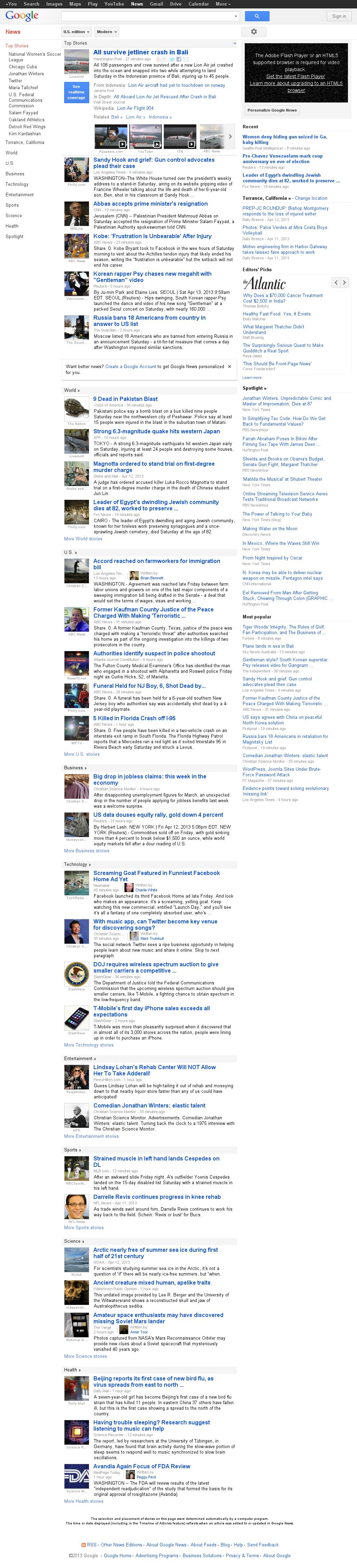 Google News at Saturday April 13, 2013, 7:08 p.m. UTC