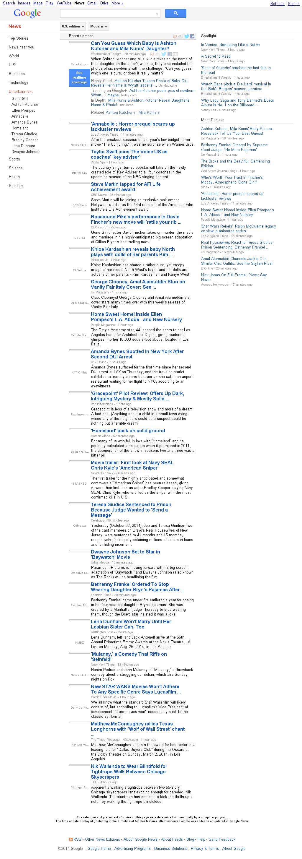 Google News: Entertainment at Friday Oct. 3, 2014, 8:07 p.m. UTC