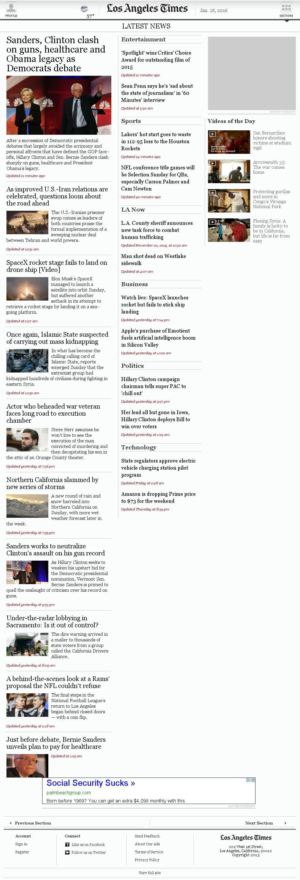 Los Angeles Times at Monday Jan. 18, 2016, 5:15 a.m. UTC