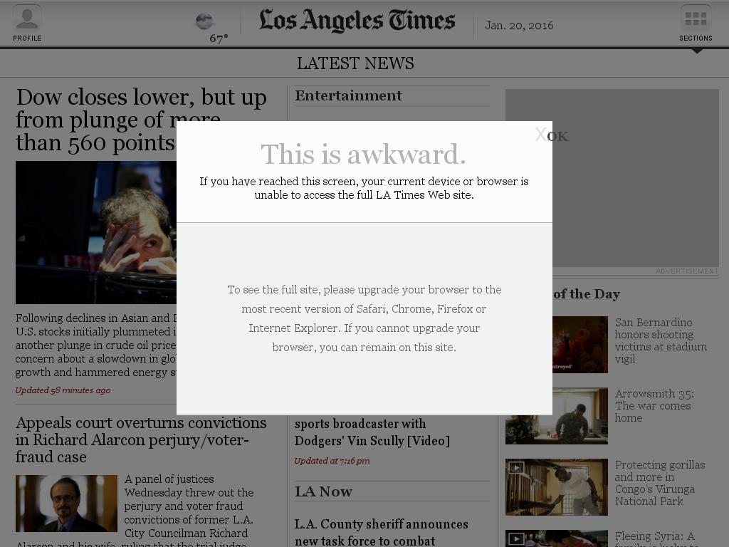 Los Angeles Times at Wednesday Jan. 20, 2016, 10:12 p.m. UTC