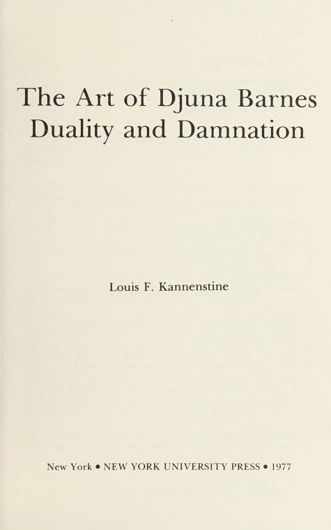 The art of Djuna Barnes by Louis F. Kannenstine