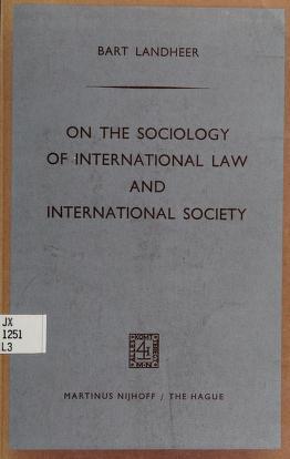 Cover of: On the sociology of international law and international society | Bartholomeus Landheer
